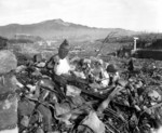 A pile of rubble from a destroyed Buddhist Temple in Nagasaki, Japan, 24 Sep 1945