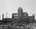 Ruins of the Hiroshima Prefectural Commercial Exhibition Hall, Hiroshima, Japan, 24 Oct 1945; distance from center of blast at this point was about 350 meters