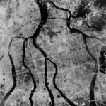 Aerial view of Hiroshima, Japan, Aug 1945