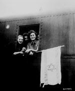 A Polish, a Latvian, and a Hungarian Jew, all rescued from Buchenwald Concentration Camp, boarded a plane for Palestine, 5 Jun 1945