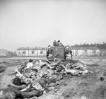 A British Army bulldozer pushed bodies of Bergen-Belsen Concentration Camp victims into a mass grave, Germany, 19 Apr 1945; note driver had to cover nose and mouth with handkerchief
