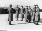 Officers in charge of Sachsenhausen concentration camp gathered during morning roll call, Oranienburg, Germany, 1936
