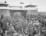 Former prisoners of Mauthausen-Gusen Concentration Camp welcoming the troops of 11th Armored Division of US Third Army, Austria, 6 May 1945