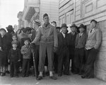 A crowd of onlookers on the first day of evacuation of Japanese residents of San Francisco, California, United States, who themselves would be sent to internment camps within three days, 25 Apr 1942