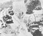 Japanese Type 97 Chi-Ha tank and other vehicles during Operation Ichigo in China, 1944