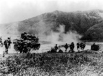 Gurkha troops advancing with tanks on the Imphal-Kohima Road, India, Mar-Jul 1944