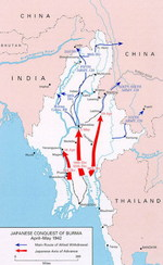Map of Japanese and Allied movements in Burma, Apr-May 1942