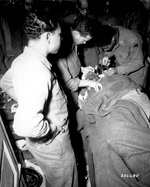 African-American Capt Ezekia Smith of 370th Regt of US Army 92nd Infantry Division being treated at the 317th Collecting Station for shell fragments to the face, Pietrasanta area, Italy, 10 Feb 1945