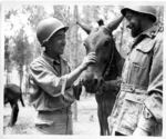 Japanese-American soldier of 522nd Field Artillery, US 442nd Regimental Combat Team with a soldier of Italian 11th Pack Mule Company, Castellina Sector, Italy, 12 Jul 1944