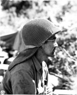 Japanese-American sniper of 100th Infantry Battalion of US 442nd Regimental Combat Team in Castellina Sector, near Livorno, Italy, 15 Jul 1944
