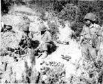 Japanese-American mortar crew of 100th Infantry Battalion, US 442nd Regimental Combat Team firing into suspected German sniper positions, Montenero area, Italy, 7 Aug 1944, photo 2 of 2