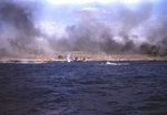 As shells exploded on Iwo Jima beach, LVTs approached, 19 Feb 1945
