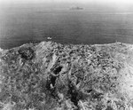 Aerial photograph of American flag atop Mount Suribachi, Iwo Jima, Japan, 23 Feb 1945