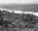 Scene along the rocky coast of northern Iwo Jima, 21 Apr 1945