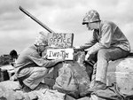 US Marines Sergeant B. D. Boyant and Corporal Kenneth E. Hales setting up the 4th Marine Division
