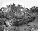 US Marine M4 Sherman tank mired in soft volcanic sand, Iwo Jima, Japan, 21 Feb 1945