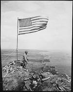 American flag atop Mount Suribachi, Iwo Jima, Japan, Feb 1945