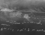 The first wave of landing craft at Iwo Jima, 19 Feb 1945, photo 2 of 6