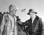 Lieutenant General Holland Smith congratulating Major General Graves B. Erskine, Iwo Jima, Japan, Mar 1945