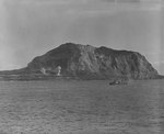 Shells exploded ashore during the pre-invasion bombardment of Iwo Jima, 17 Feb 1945