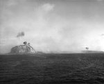 Naval gun shells exploded on Mount Suribachi, Iwo Jima, 17-19 Feb 1945