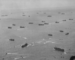 US naval transports off Iwo Jima, late Feb 1945