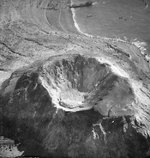 Aerial photograph of Mount Suribachi with Iwo Jima