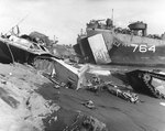 LST-764 unloading on an Iwo Jima beach, circa late Feb 1945