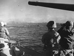 US Fourth Division Marines aboard a transport off Iwo Jima watched the first wave of amphtracs, 19 Feb 1945