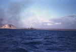 A Fletcher-class destroyer off Iwo Jima, circa 19 Feb 1945