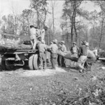 Men loading cut timber onto a truck, Jerome War Relocation Center, Arkansas, United States, 18 Nov 1942, photo 3 of 3