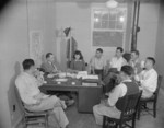 Project Director Paul Taylor speaking with the Council Committee of Jerome War Relocation Center, Arkansas, United States, 18 Nov 1942, photo 2 of 2