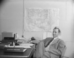 Project Director Paul Taylor of Jerome War Relocation Center at his office, Arkansas, United States, 18 Nov 1942, photo 2 of 2