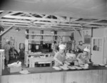 Staff members of Block 7 kitchen at work, Jerome War Relocation Center, Arkansas, United States, 18 Nov 1942