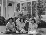 Japanese-American members of the Shibuya family posing for a family portrait shortly prior to being forcibly evacuated from their home, Mountain View, California, United States, 18 Apr 1942