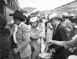 Japanese-Americans returning to Sacramento, California, United States after being released from Rohwer Center internment camp in McGehee, Arkansas, United States, 30 Jul 1945