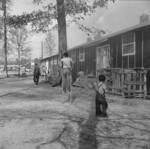Japanese-American children playing in Block 7 of Jerome War Relocation Center, Arkansas, United States, 18 Nov 1942