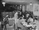 Workers at the office of Personnel Records Section, Jerome War Relocation Center, Arkansas, United States, 19 Nov 1942