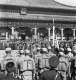 Chinese troops observing the Japanese surrender ceremony at the Forbidden City, Beiping, China, 10 Oct 1945, photo 1 of 2