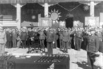 General Sun Lianzhong and other officers at the closing of the Japanese surrender ceremony at the Forbidden City, Beiping, China, 10 Oct 1945, photo 3 of 3