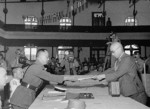 Yasuji Okamura surrendering to He Yingqin, Nanjing, China, 9 Sep 1945, photo 2 of 3