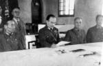 Chinese General Hu Zongnang reading the Japanese surrender document, Zhengzhou, Henan Province, China, 22 Sep 1945