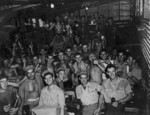US Marines celebrating, Okinawa, Japan, Aug 1945
