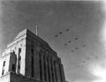 Military aircraft flying over Hong Kong during the victory celebration, 30 Aug 1945
