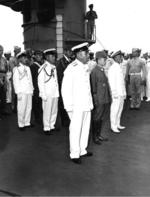 Japanese delegation aboard USS Portland to surrender Truk, Caroline Islands, 2 Sep 1945, 2 of 3