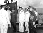 Japanese delegation aboard USS Portland to surrender Truk, Caroline Islands, 2 Sep 1945, 1 of 3