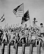 Allied prisoners of war at Aomori camp near Yokohama cheered as US Navy and other Allied personnel arrived to rescue them, 29 Aug 1945