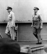 MacArthur and Nimitz arrived on USS Missouri for the signing of the instrument of surrender
