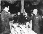 Chiang Kaishek and Mao Zedong celebrated the end of the Second Sino-Japanese War, Chongqing, China, Sep 1945