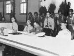 Chinese General He Yingqin signing the Japanese surrender document at the Chinese Military Academy in Nanjing, China, 9 Sep 1945, photo 1 of 2